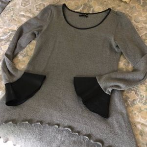 Sweaters - Grey Sweater with Leather Cuffs and Trim